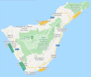 Карта где жить на Тенерифе