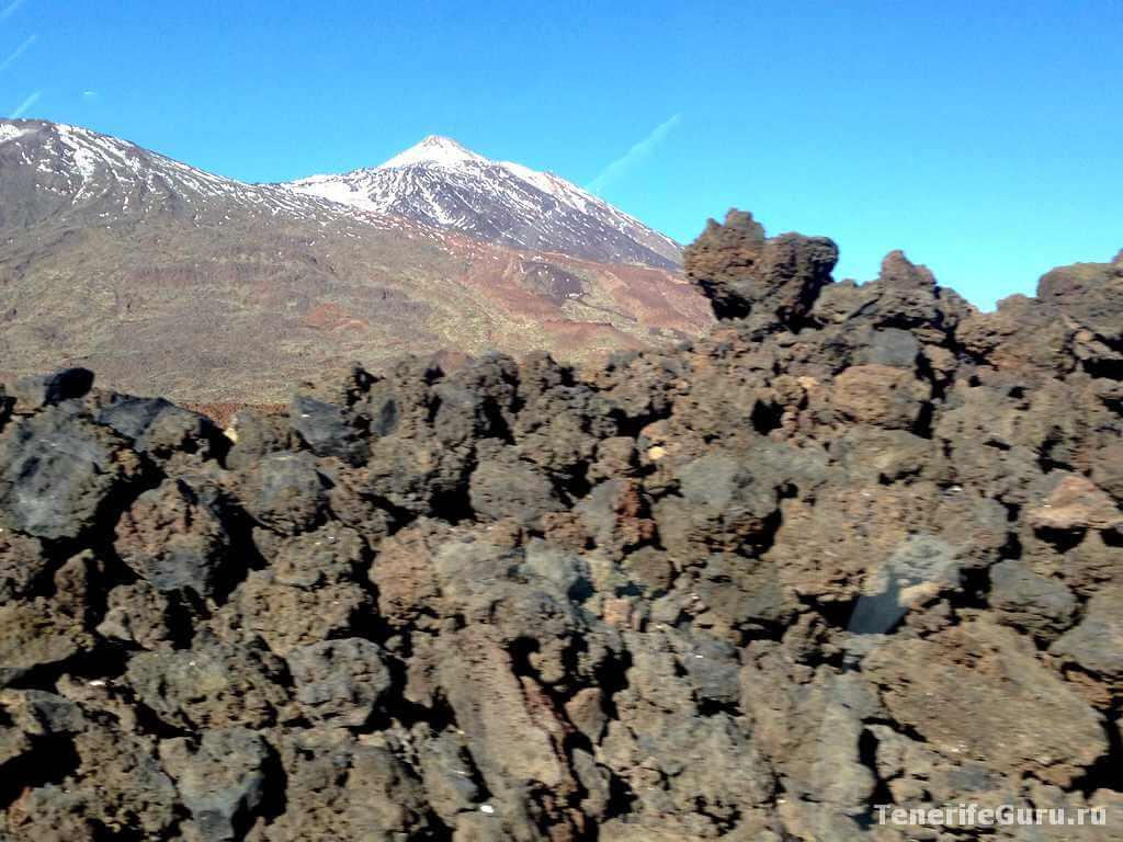 Вид на вулкан Тейде с лавового поля